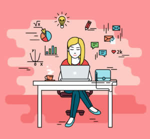 Woman is working with laptop. Flat line contour illustration of student studying process sitting at home. Young woman with social media and education infographics symbols such as chart, diagram, graph