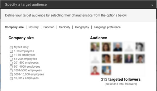linkedIn specify target audience