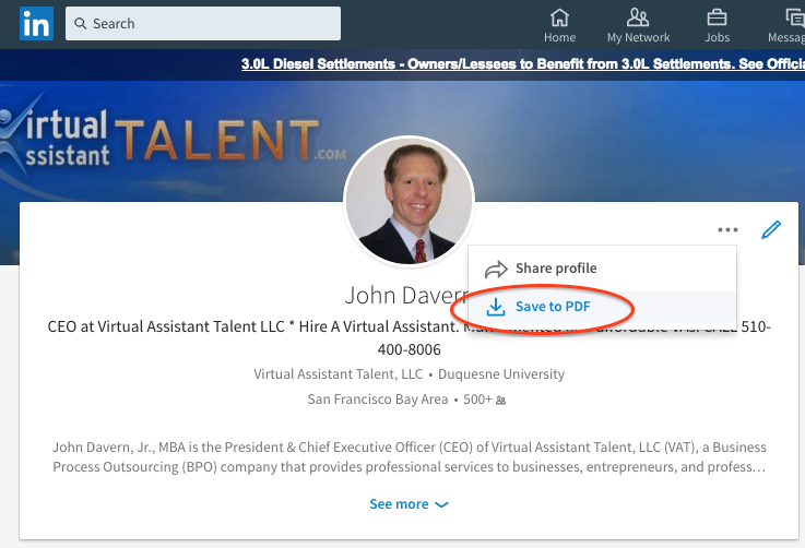 Save LinkedIn Profile to PDF