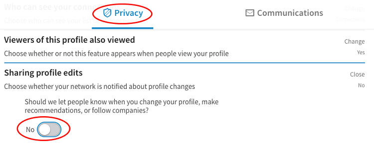linkedin sharing profile edits