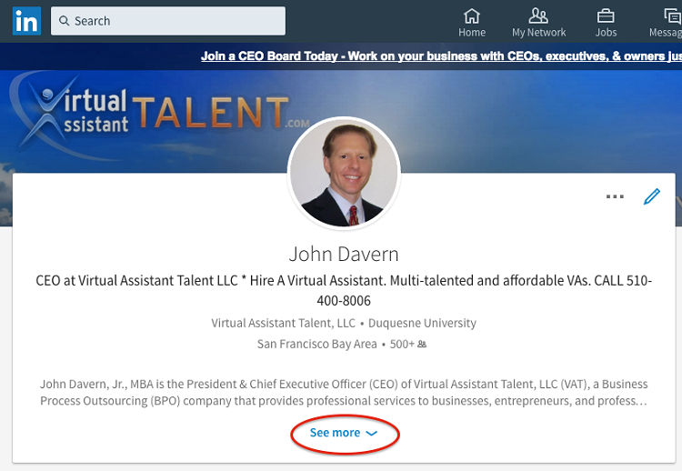 LinkedIn 200-character preview of the description