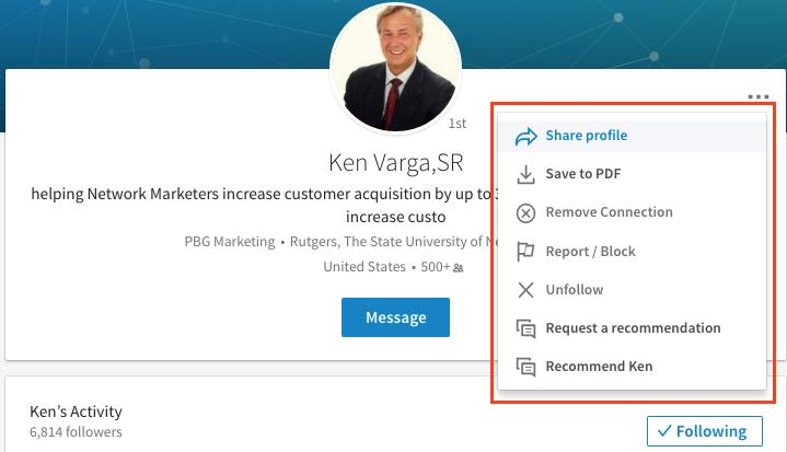 share linkedin profile