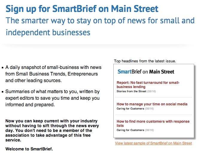 SmartBrief's page